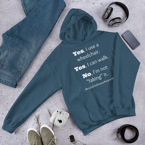 Yes, I Use a Wheelchair And I Can Walk Disability Awareness Hoodie Sweatshirt - Choose Color