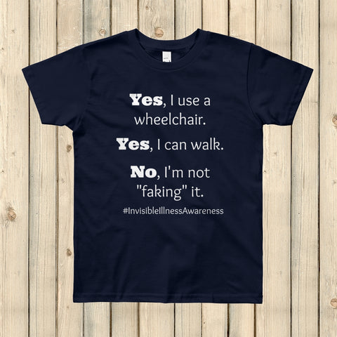 Yes, I Use a Wheelchair And I Can Walk Disability Awareness Kids' Shirt - Choose Color - Sunshine and Spoons Shop