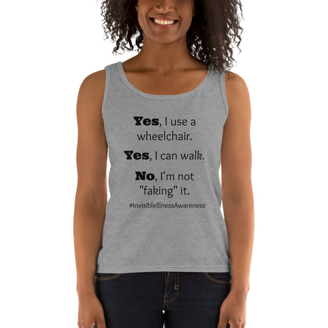 Yes, I Use a Wheelchair And I Can Walk Disability Awareness Women's Tank Top - Choose Color