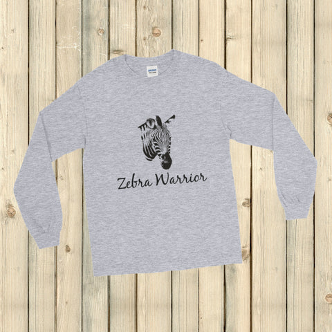I Am a Zebra Warrior Rare Disease Ehlers Danlos EDS Unisex Long Sleeved Shirt - Choose Color - Sunshine and Spoons Shop