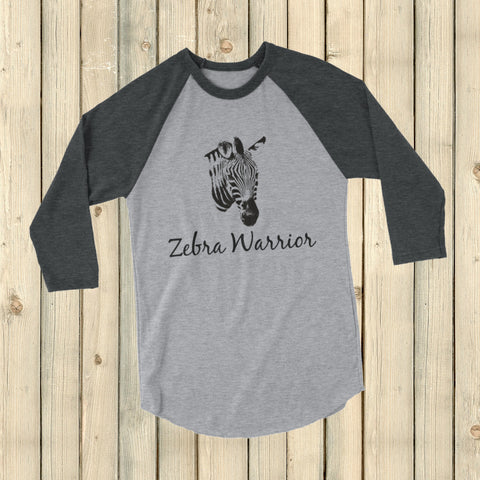 I Am a Zebra Warrior Rare Disease Ehlers Danlos EDS 3/4 Sleeve Unisex Raglan - Choose Color - Sunshine and Spoons Shop