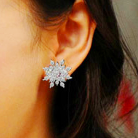 Beautiful Crystal Snowflake Statement Earrings