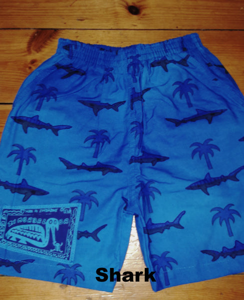 Kid's Shorts - Shark print - 100% Cotton Baggies