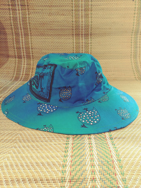 Sun Hat - Guinea Fowl print - Reversible Designs
