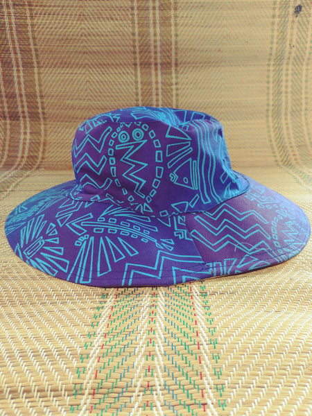Sun Hat - Fish n Bits print - Reversible Designs