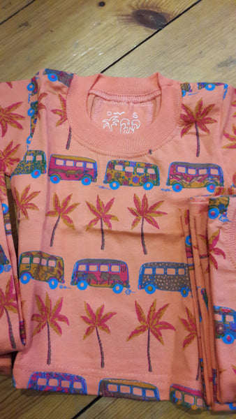 Baby Short Sleeve T-Shirt - Ethnic African Bus & Palm Trees Design