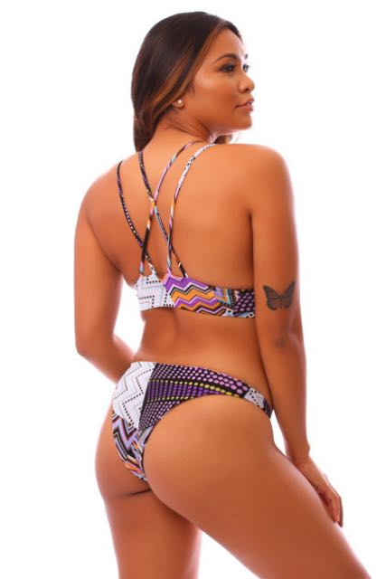 Purple Zig-Zag Cheeky Kahili Bottoms
