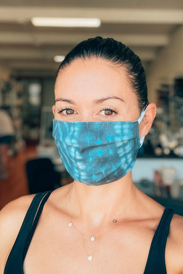 Blue Shibori Pleated Fabric Mask