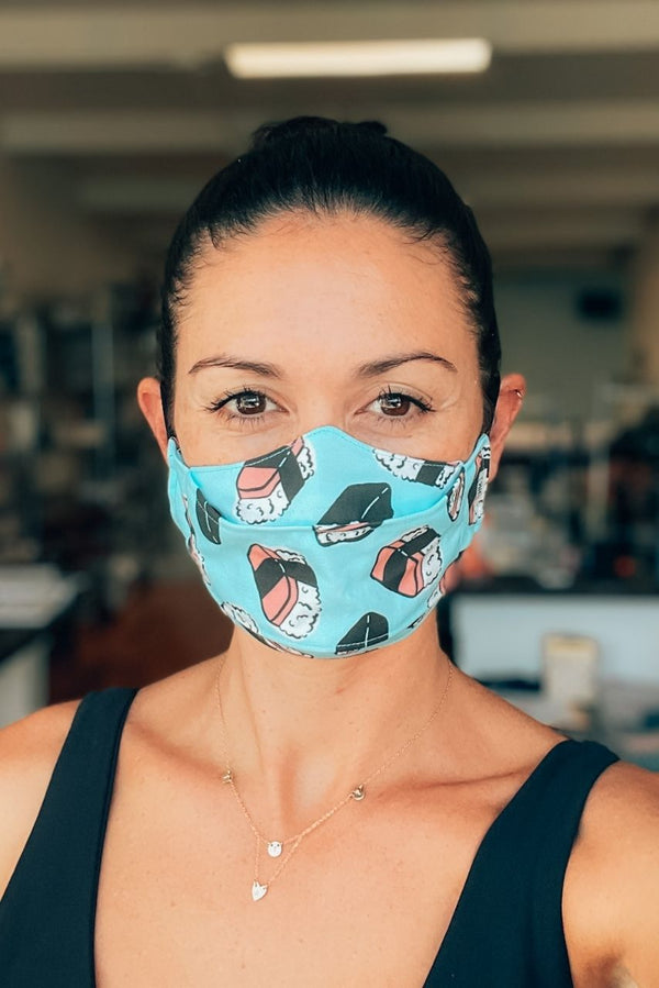Blue Spam Musubi Mask