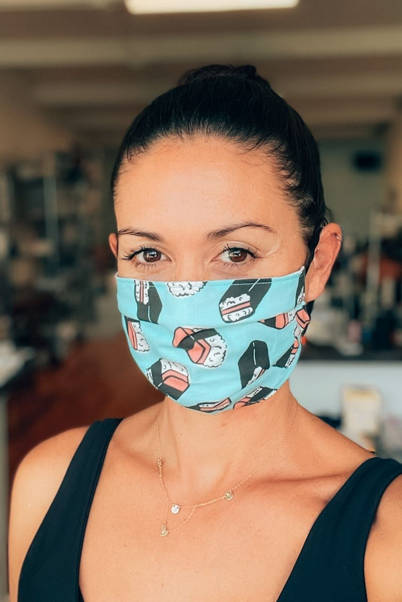 Blue Spam Musubi Pleated Fabric Mask