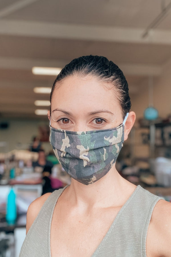 Camo Print Cotton Fabric Mask