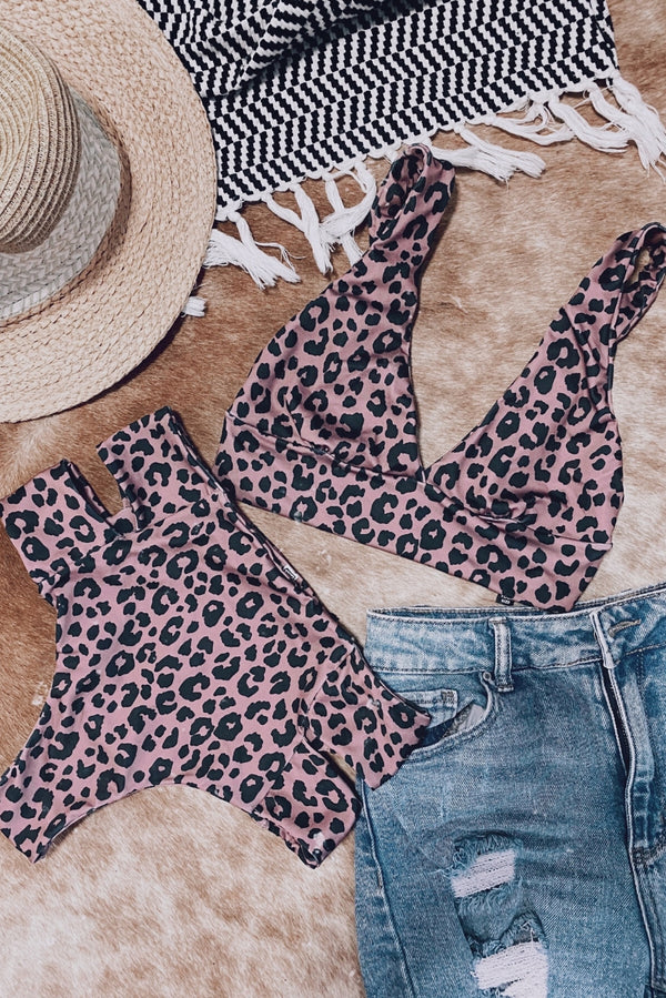 Mauve Leopard High-Waisted Kini Set