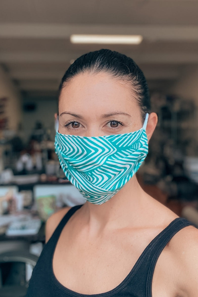 Aqua Green Chevron Fabric Mask