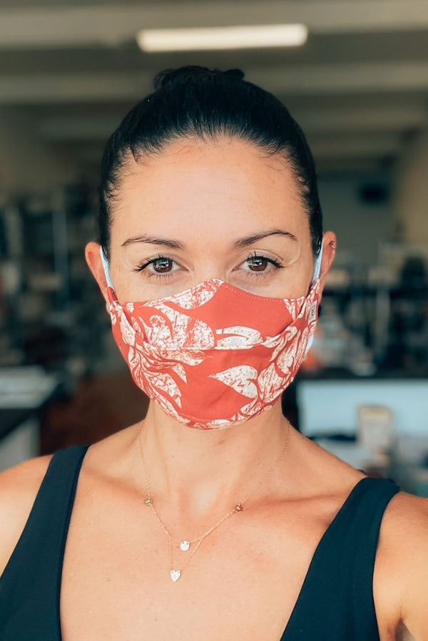 Red Hawaiian Hibiscus 3D Cotton Mask