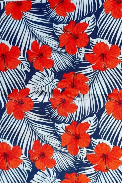 Red Hibiscus Custom Swim Print
