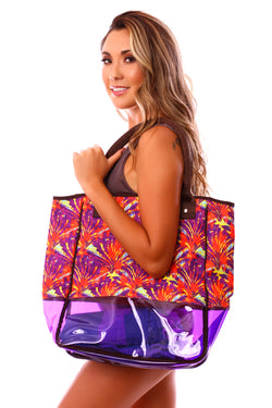 CLEARANCE: Taravana Purple Orchid Mauruuru Large Beach Bag