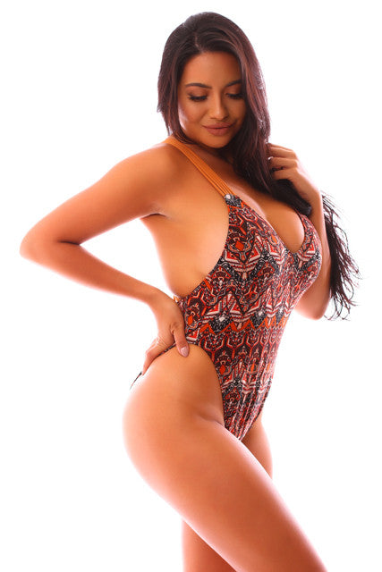 CLEARANCE: Rusty Red Aztec High Side Strappy One Piece