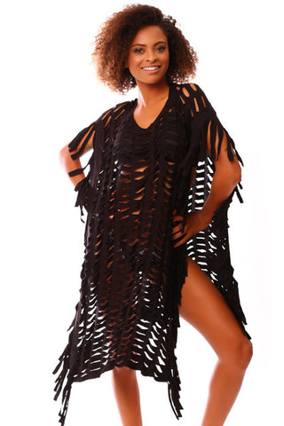 MyLei Kananaka Black Mermaid Poncho Cover Up