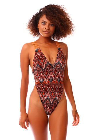 Rusty Red Aztec High Side Strappy One Piece