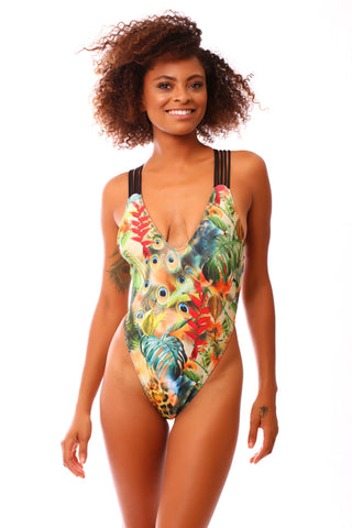 Jungle High Side Sexy One Piece Swimsuit