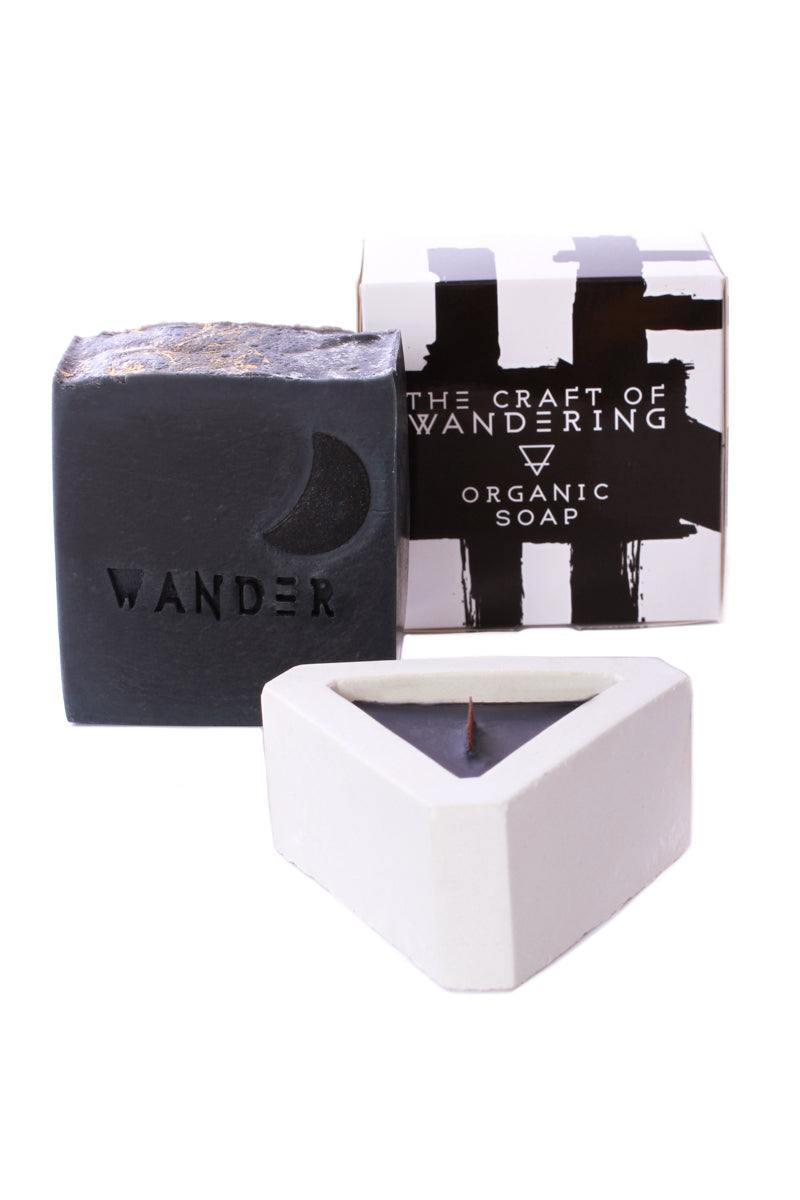 The Craft of Wandering Black Lavender Triangle Cement Candle