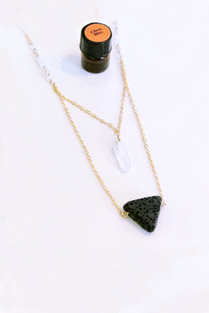 Ga Nell Quartz Moonstone Diffuser Necklace