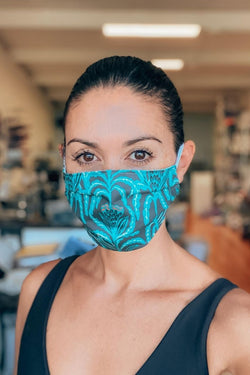 IN STOCK: Maisy Teal Fabric Mask ($1 goes to charity!)