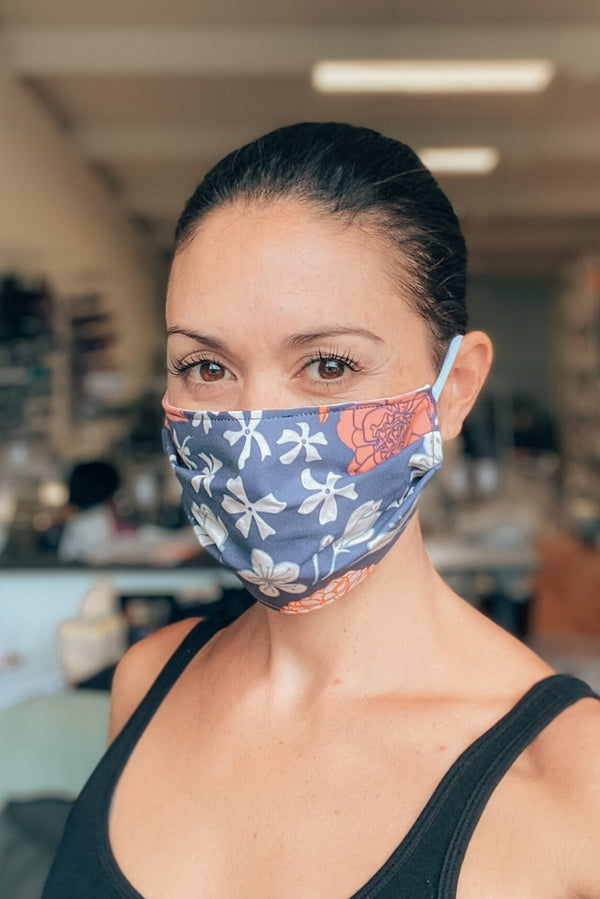 In STOCK: Navy Bloom Fabric Mask