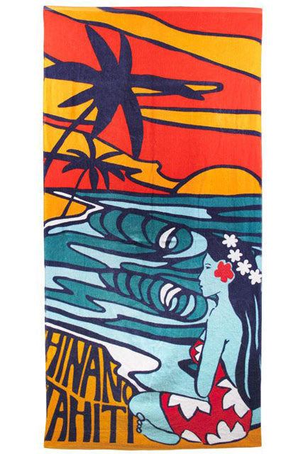 Hinano Navy Ocean View Beach Towel