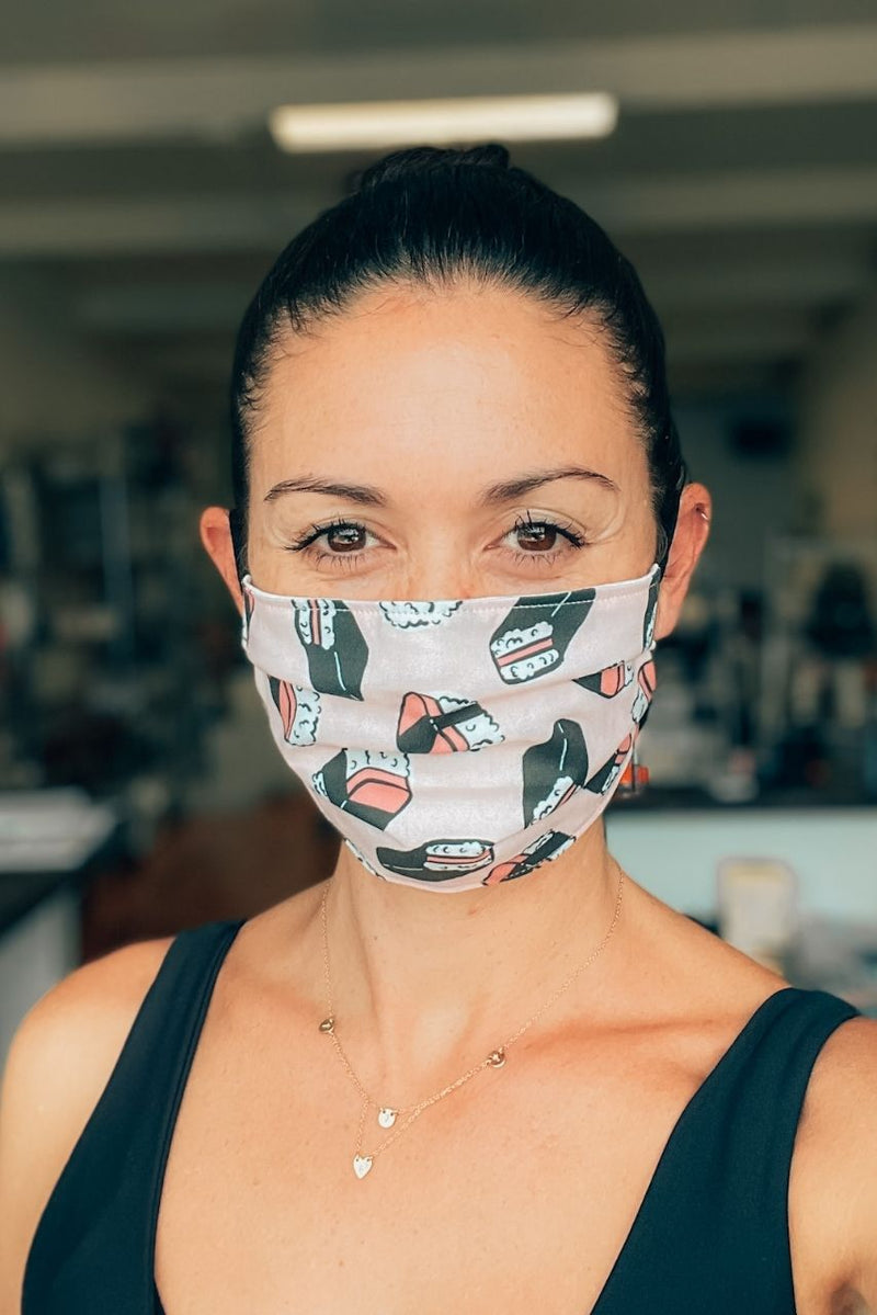 Pink Spam Musubi Pleated Fabric Mask