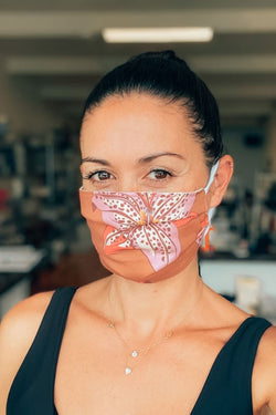 Pinwheel Lily Print Pleated Fabric Mask