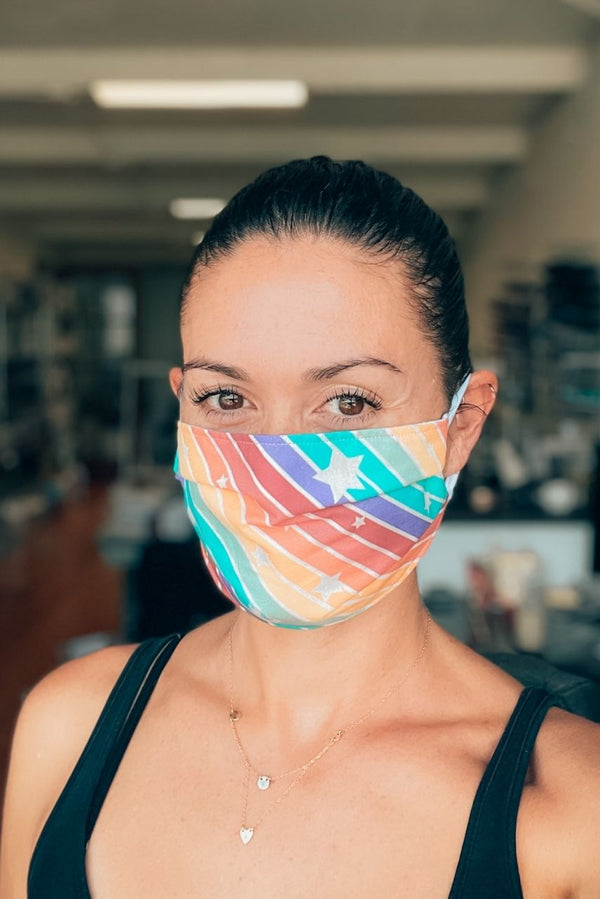 Rainbow Bright Pleated Fabric Mask
