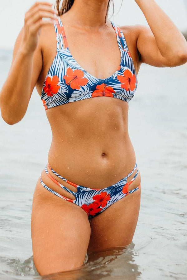 Red Hibiscus Bikini Set