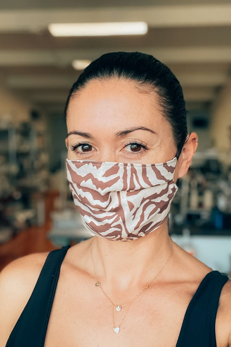 Safari Stripes Pleated Fabric Mask