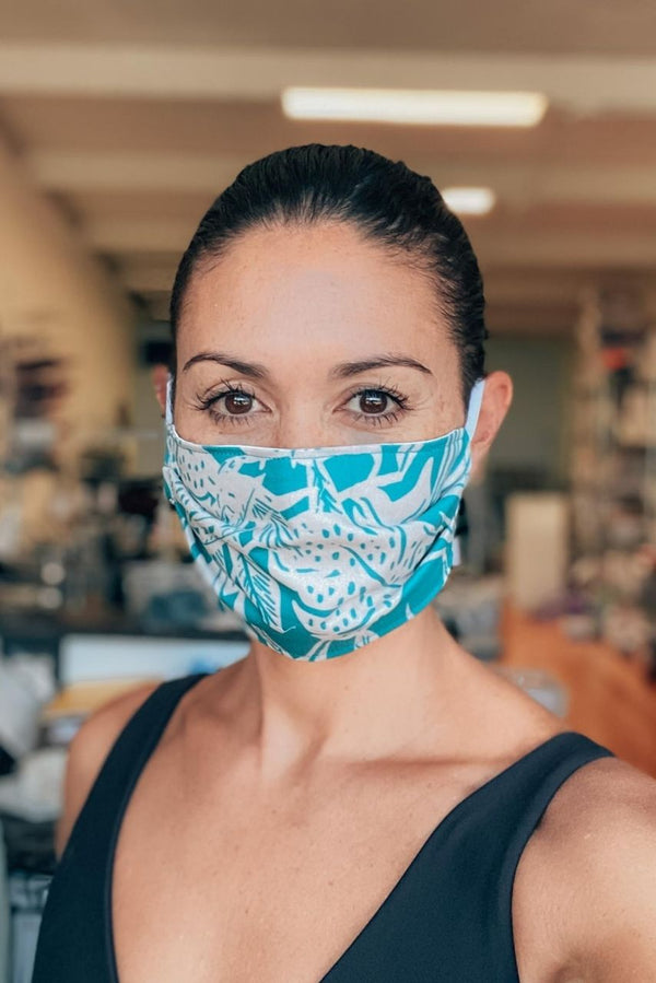 IN STOCK: Summer Jungle Teal Fabric Mask ($1 goes to charity!)