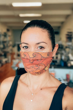 Sunset Waves Pleated Fabric Mask