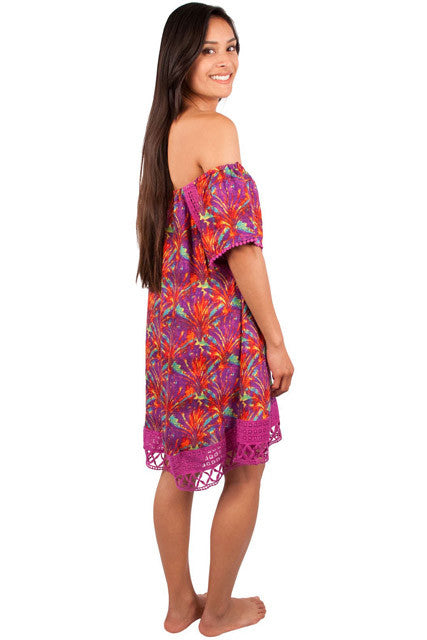 CLEARANCE: Taravana Purple Orchid Tepati Off The Shoulder Dress