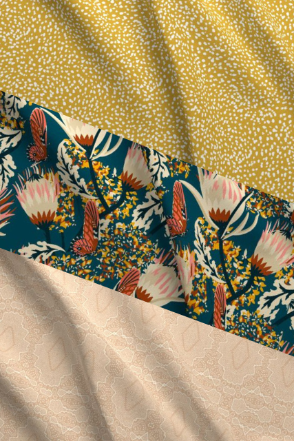 Mademoiselle Yellow Butterfly Designer Fabric Collection