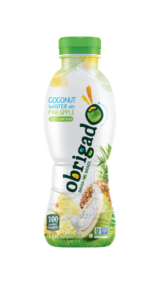 Obrigado Premium Brazilian Coconut Water with Pineapple 100% Juice 400 mL/13.5 ounces (12 Pack)