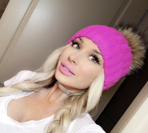 Large Fox Fur Pom Pom Beanies