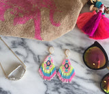 Multi Colored Beaded Drizy Earrings