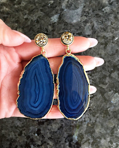 Blue Agate and Gold Drizy Earrings