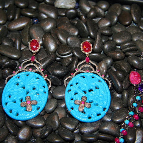 Turquoise, Ruby and Diamond Earrings