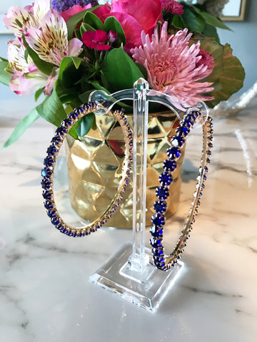 Royal Blue Rhinestone Hoops