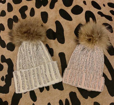 White and Light Pink Silver Rhinestone Beanies