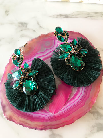 Hunter Green Crystal Fringe Earrings
