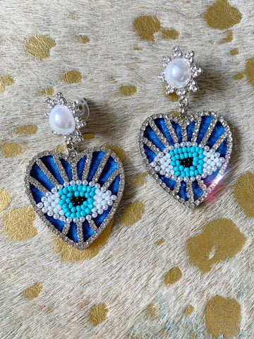 Leather Evil Eye Hearts