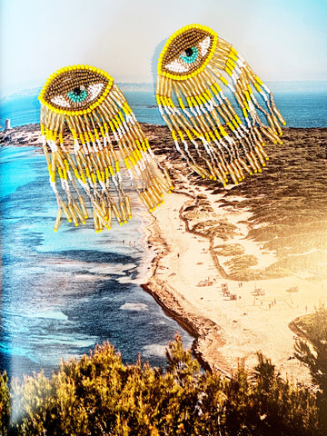Bright Yellow Evil Eye Statement Earrings
