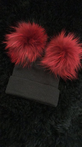 Red and Black Double Pom Pom Beanie