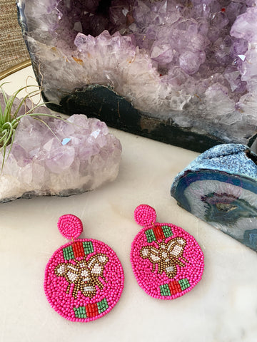 Hot Pink Bee Earrings